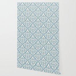 Scroll Damask Big Pattern Cream on Blue Wallpaper