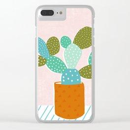 modern cacti Clear iPhone Case