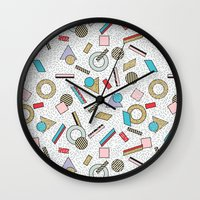 toddler Wall Clocks featuring Modern Memphis Inspired Geometric Gold Pattern by Season of Victory