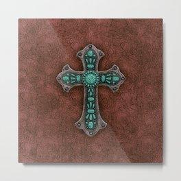 Brown and Turquoise Rustic Cross Metal Print