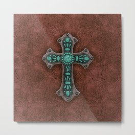 Brown and Turquoise Rustic Cross Metal Print