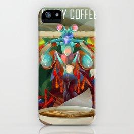 Rainbow Mantis Shrimp Enjoys Coffee iPhone Case