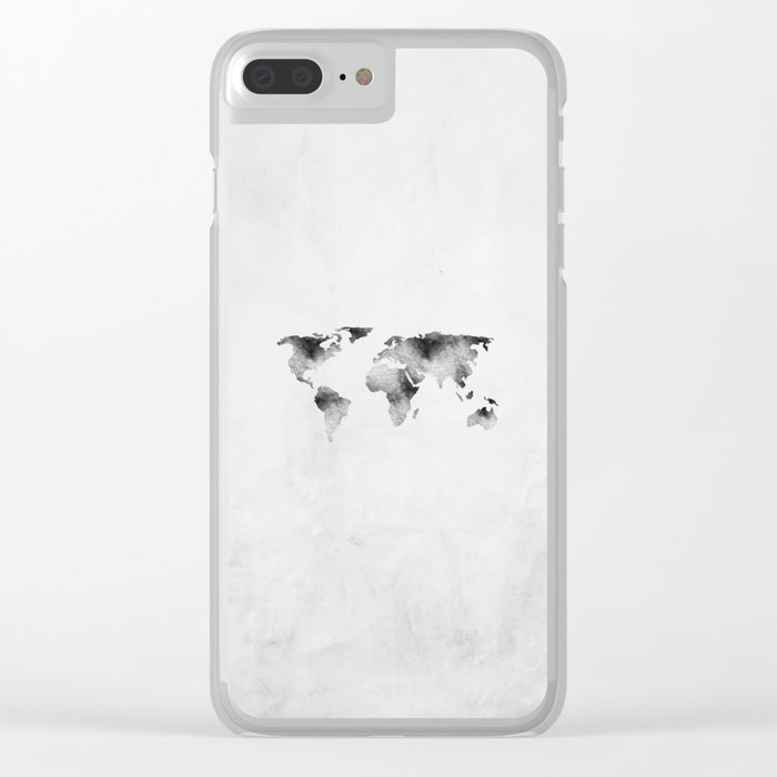 World Map - Hammered Metallic Monochrome Clear iPhone Case