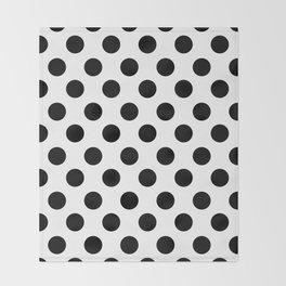 Black and White Medium Polka Dots Throw Blanket