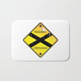 Yellow Railway Crossing Sign Bath Mat