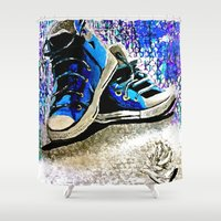 converse Shower Curtains featuring Converse Blues by Frankie Luna III
