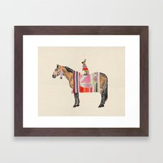 Horse with hare  Framed Art Print
