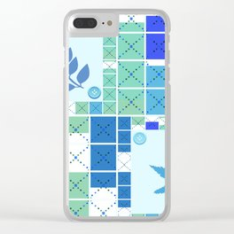 Blue white blue. Colorful light blue pattern . Clear iPhone Case