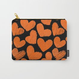 Sketchy hearts in orange and black Carry-All Pouch