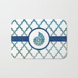 Seashell: Tropical Water Moroccan Pattern Bath Mat