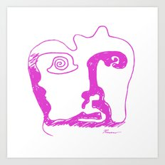 Swirl Face Line Art Art Print