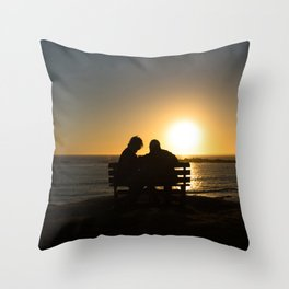 Seniors couple enjoying colorful sunset Throw Pillow