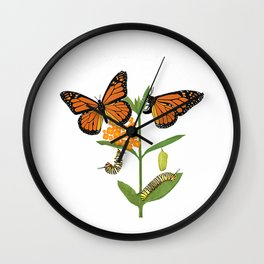 Monarch Butterfly T-shirt Lifecycle of the Monarch Butterfly T-Shirt Wall Clock