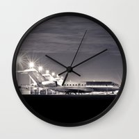 airplane Wall Clocks featuring Airplane by Marose Photo