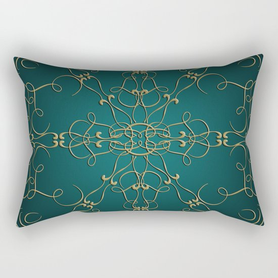Gold Teal Mandala Rectangular Pillow