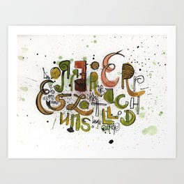 Type cluster Art Print