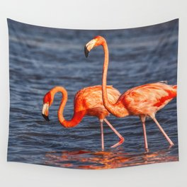 Two Pink Flamingos in Mexico Wall Tapestry