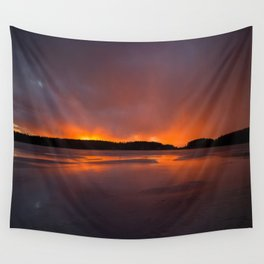Sunset With Orange Sky Reflections On The Icy Lake #decor #society6 #homedecor #buyart Wall Tapestry