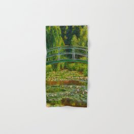 Claude Monet Impressionist Landscape Oil Painting-The Japanese Footbridge and the Water Lily Pool Hand & Bath Towel