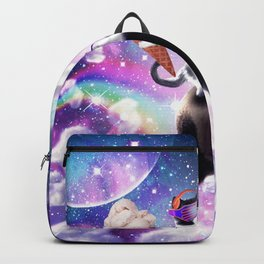 Lazer Rave Space Cat Riding Panda Eating Ice Cream Backpack