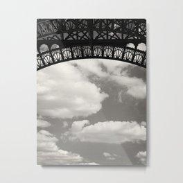 Black Lace of Eiffel Tower Metal Print