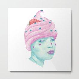 Cupcake Girl Metal Print