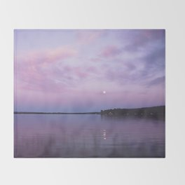 Full Moon Over The Crooked Lake Throw Blanket