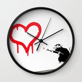 Banksy Rat Love Black&White Red Heart Wall Clock