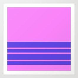 Violet Slate Stripes Blue Wall Art Print