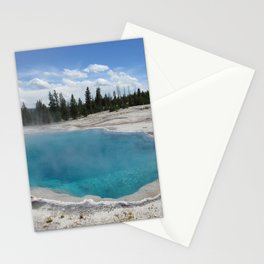 Beautiful Blue Pool at Yellowstone National Park Hot Tub Stationery Cards