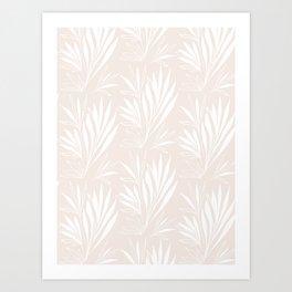 Simple leaves pattern on ivory Art Print