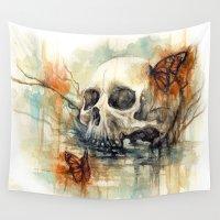 calavera Wall Tapestries featuring calavera mariposa - watercolor skull by AkiMao