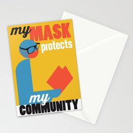My Mask Protects My Community - yellow Stationery Cards