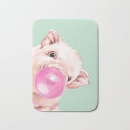 Bubble Gum Sneaky Baby Pig in Green Bath Mat