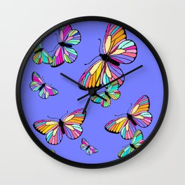 Modern Rainbow Colored Butterflies On Lavender Blue Wall Clock