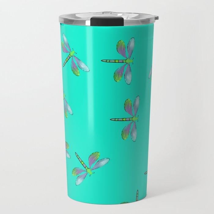 Dragonflies In Aqua and Purple Travel Mug