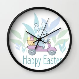 Happy Easter Cute Bunny Riding a Scooter Wall Clock