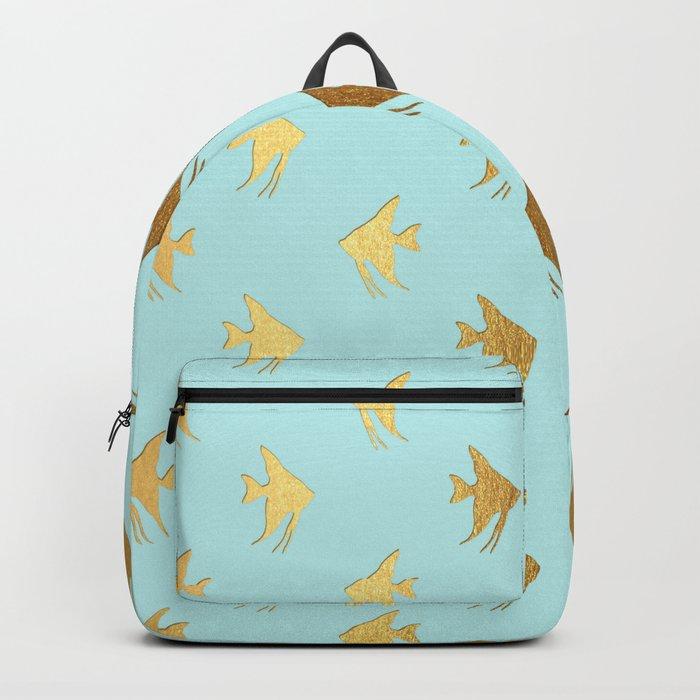 Gold Metal Foil Fish Pattern-Golden Fishes on Aqua Backpack