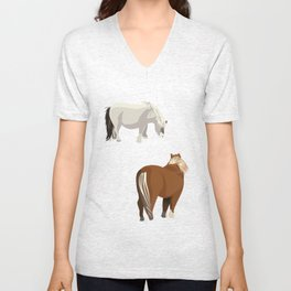 New Forest Miniature Ponies Unisex V-Neck