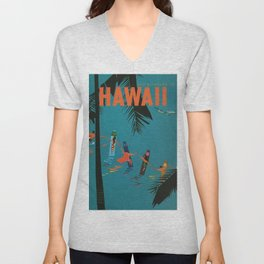 Surfing Hawaii - Jet Clippers to Hawaii Vintage Travel Poster Unisex V-Neck
