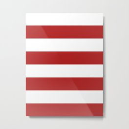 Wide Horizontal Stripes - White and Firebrick Red Metal Print