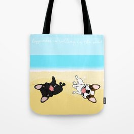 Frenchies Rolling In The Sand Tote Bag