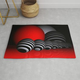 round and red and white and black Rug