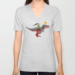 Dino Knight T-Rex II Unisex V-Neck
