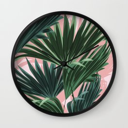 Pink and green palm trees Wall Clock