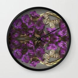 Indigo Flowers and Butterflies Wall Clock