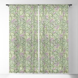 I don't need to improve - Green and pink Sheer Curtain