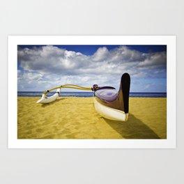 Outrigger canoe on beach Art Print