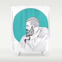 vikings Shower Curtains featuring Ragnar Lothbrok / Vikings by Lucia Prieto Moreno