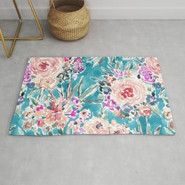 WAHINE WAYS Aqua Tropical Floral Rug